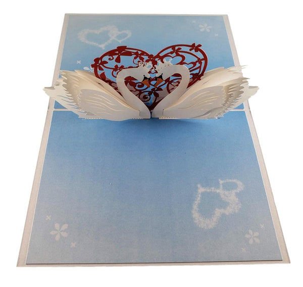 Swan Heart 3D Pop Up Greeting Card 2