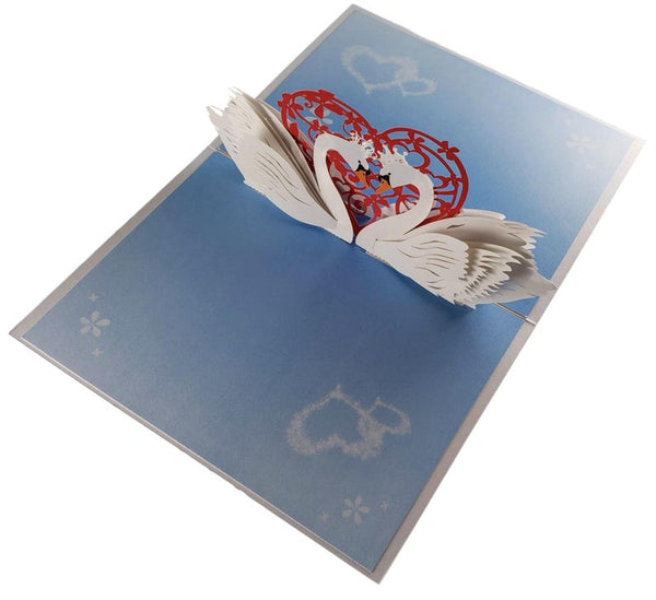 Swan Heart 3D Pop Up Greeting Card 4
