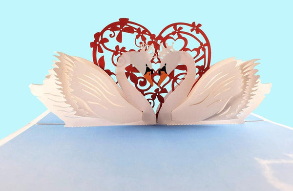 Swan Heart 3D Pop Up Greeting Card 5