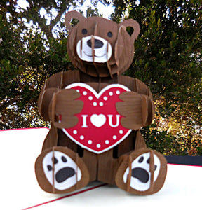 Teddy Bear 3D Pop Up Greeting Card 1 front