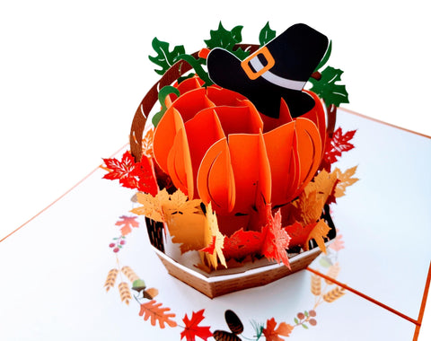 Happy Thanksgiving Pumpkin Pop Up Greeting Card