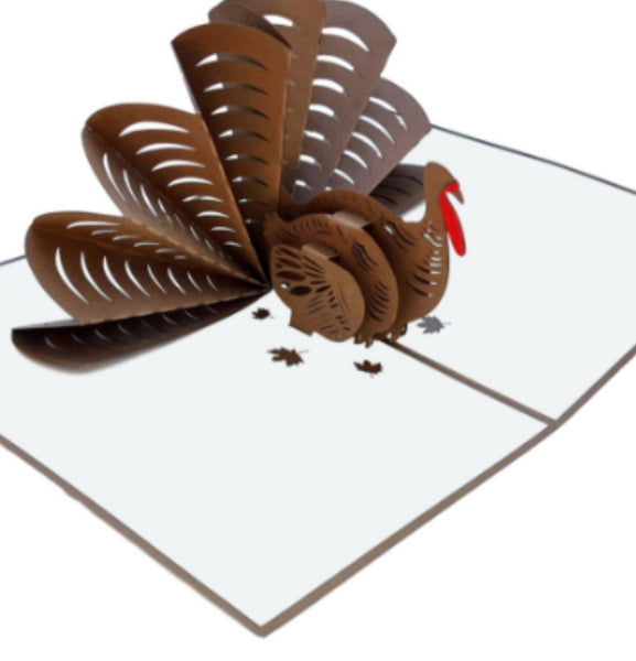 Thanksgiving Turkey 3D Pop Up Greeting Card 1 front