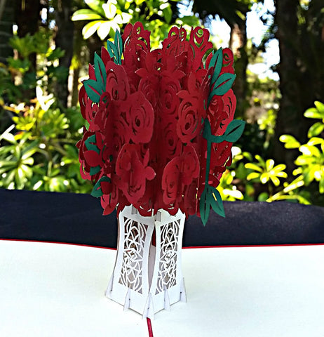 Red Rose Bouquet 3D Pop Up Greeting Card 1