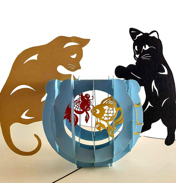 Two Cute Cats With Fish Bowl 3D Pop Up Greeting Card 1 front