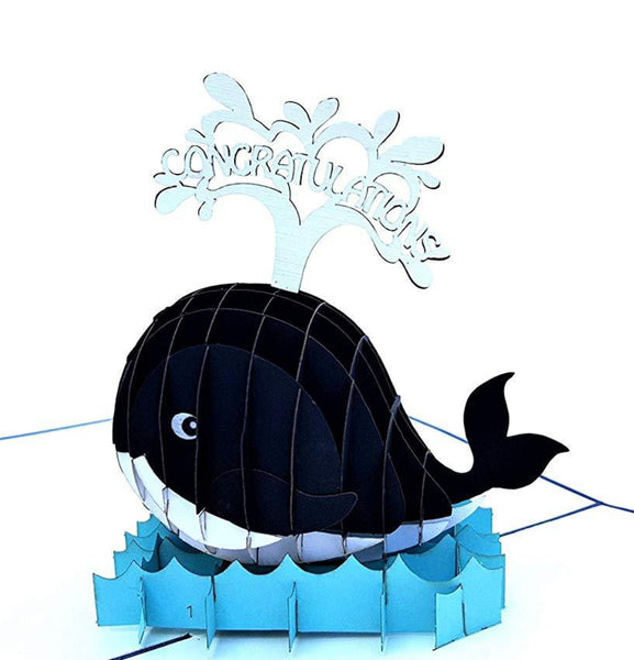 Unique Congratulations Whale (Blue Cover) 3D Pop Up Card 1