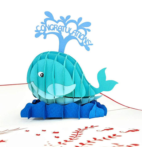 Unique Congratulations Whale (Red Cover) 3D Pop Up Card 1