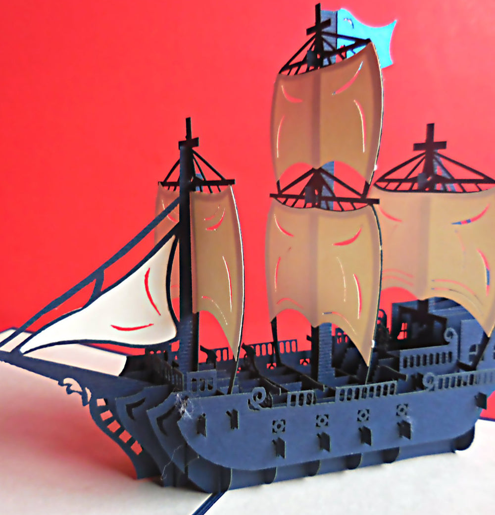 War Ship 3D Pop Up Greeting Card 1
