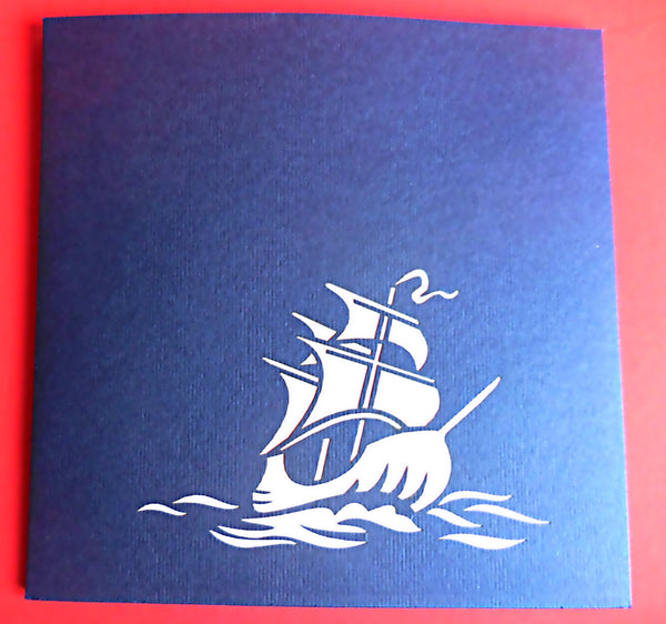 War Ship 3D Pop Up Greeting Card 3