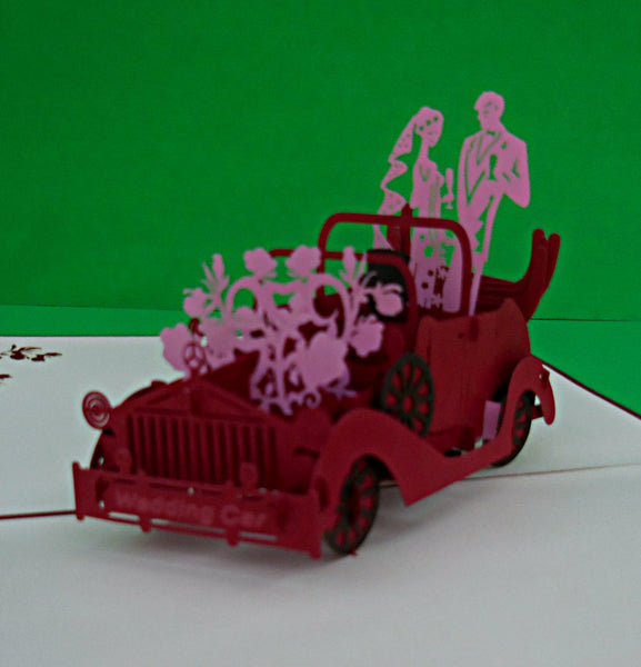 Wedding Car 3D Pop Up Greeting Card 1