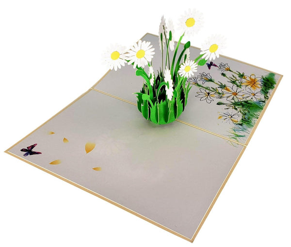 White Daisies 3D Pop Up Greeting Card 4