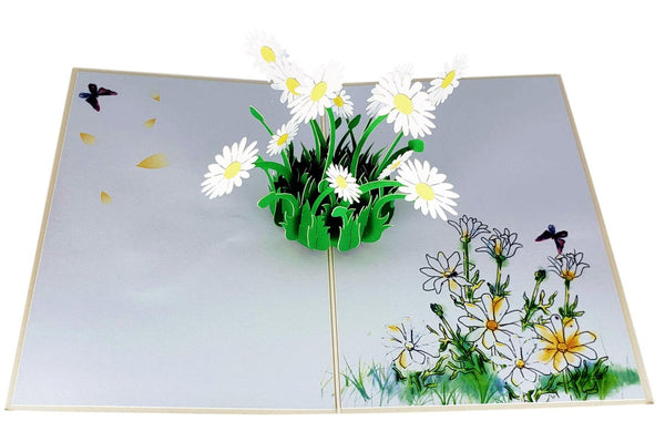 White Daisies 3D Pop Up Greeting Card 5