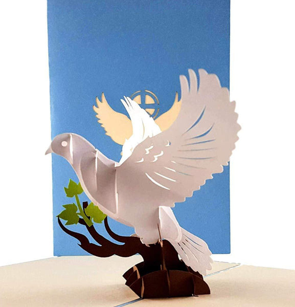 White Dove with Olive Branch 3D Pop Up Greeting Card 1 front
