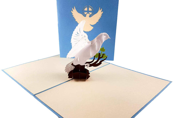 White Dove with Olive Branch 3D Pop Up Greeting Card 3