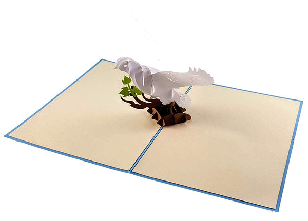 White Dove with Olive Branch 3D Pop Up Greeting Card 4