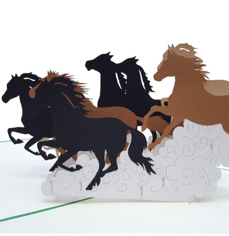 Wild Black Brown Horses 3D Pop Up Greeting Card 01 front