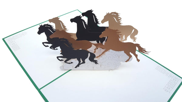 Wild Black Brown Horses 3D Pop Up Greeting Card 2