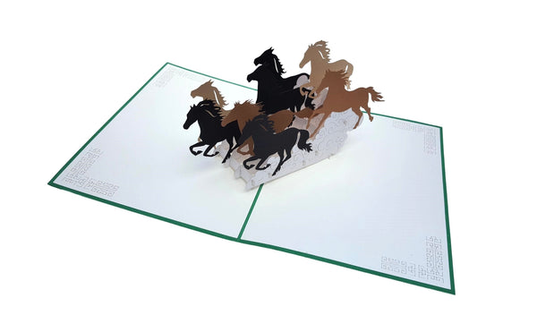 Wild Black Brown Horses 3D Pop Up Greeting Card 3