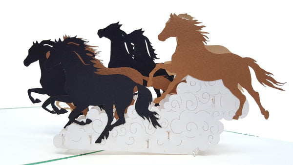 Wild Black Brown Horses 3D Pop Up Greeting Card 4