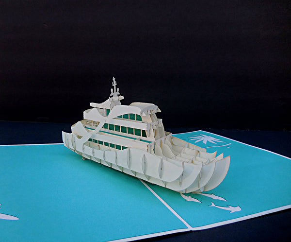 Yacht 3D Pop Up Greeting Card 2