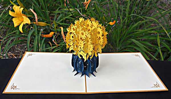 Yellow Flowers 3D Pop Up Greeting Card 2