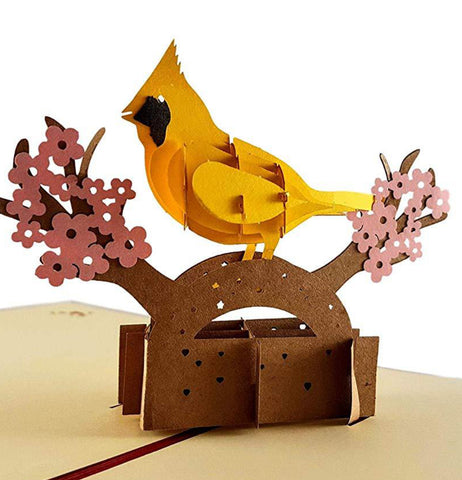 Yellow Cardinal 3D Pop Up Greeting Card 1