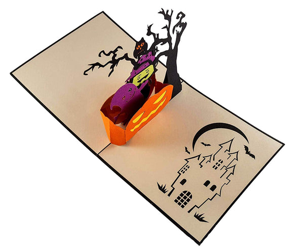 Young Witch and Friendly Ghost 3D Pop Up Greeting Card 4