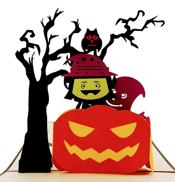 Young Witch and Friendly Ghost 3D Pop Up Greeting Card 1 front