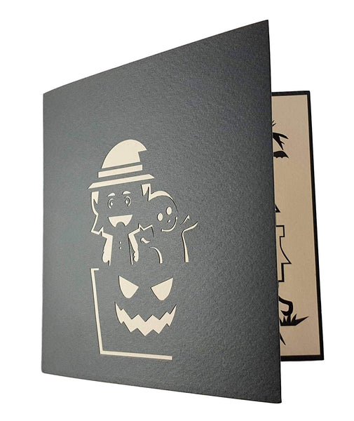 Young Witch and Friendly Ghost 3D Pop Up Greeting Card 5