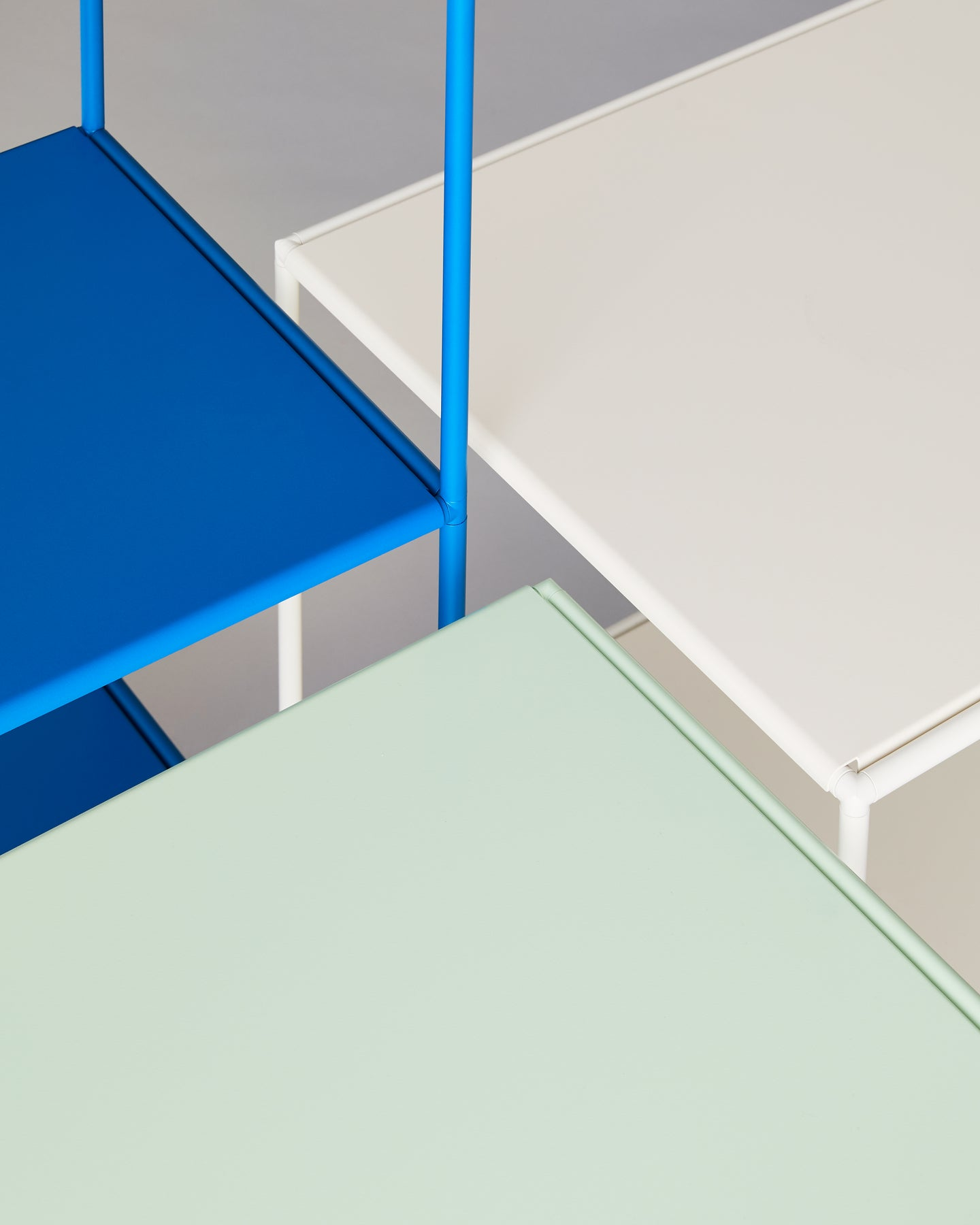 Stille Furniture abstract composition with Bone, Mint and Cobalt colors featured