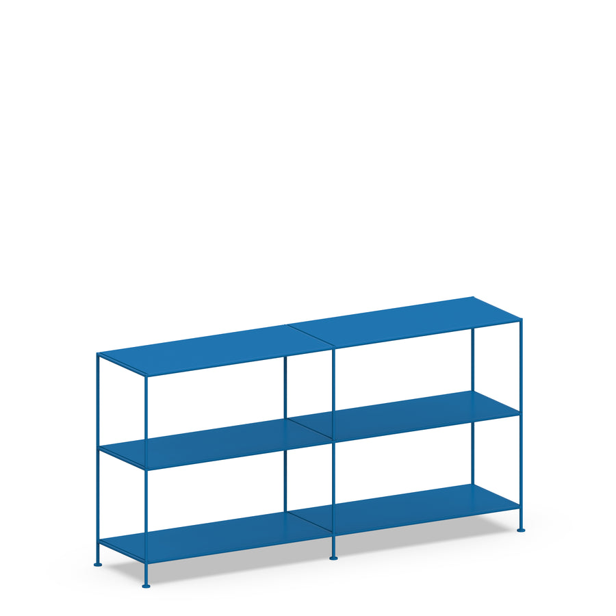 Stille Furniture Double-wide Shelves 3-tier in Cobalt color