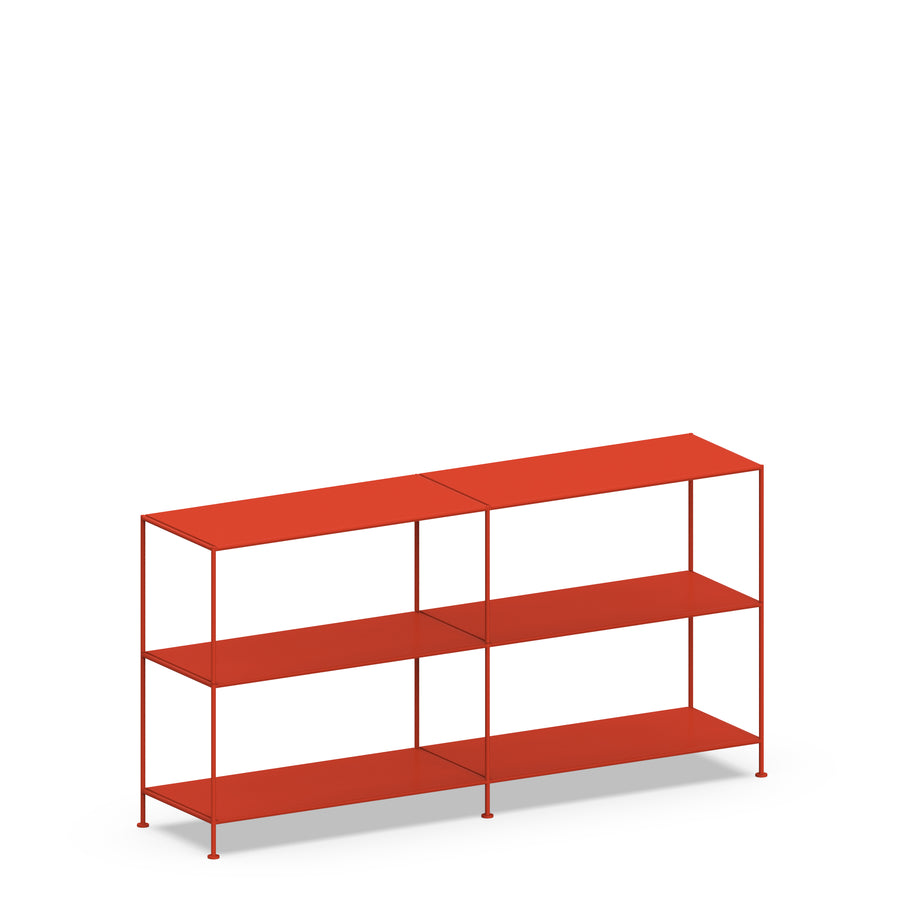 Stille Furniture Double-wide Shelves 3-tier in Tomato color
