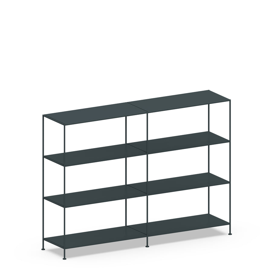 Stille Furniture Double-wide Shelves 4-tier in Slate color