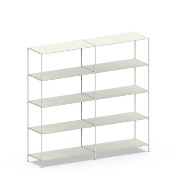 Stille Furniture Double-wide Shelves 5-tier in Bone color