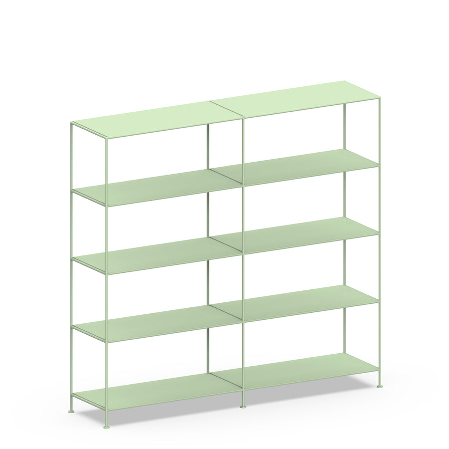 Stille Furniture Double-wide Shelves 5-tier in Mint color
