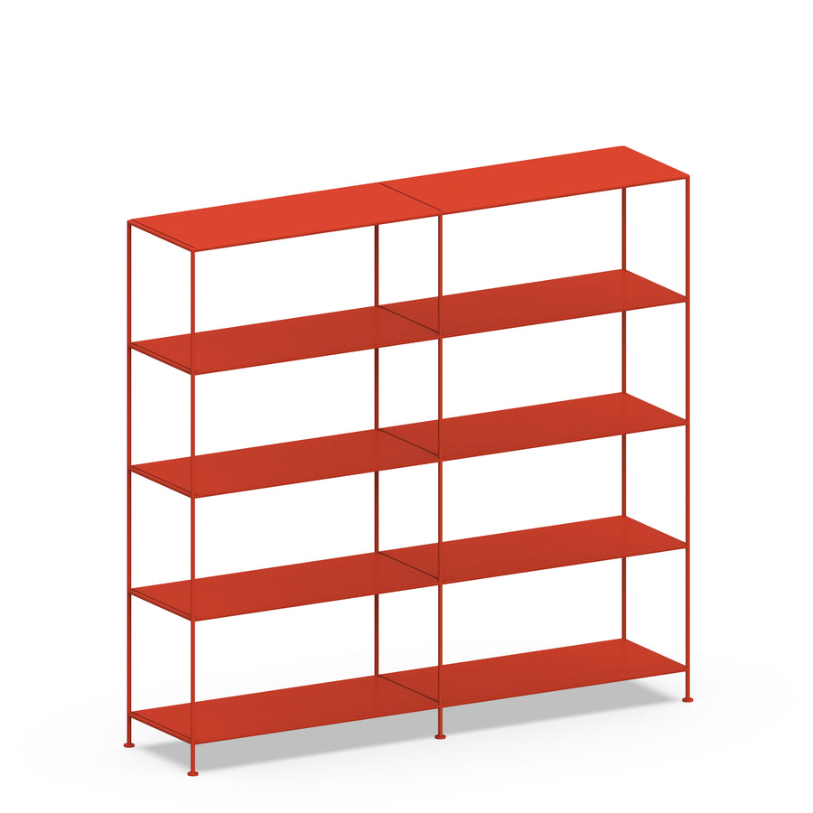 Stille Furniture Double-wide Shelves 5-tier in Tomato color