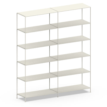 Stille Furniture Double-wide Shelves 6-tier in Bone color