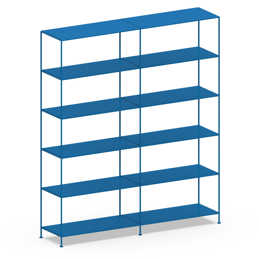 Stille Furniture Double-wide Shelves 6-tier in Cobalt color