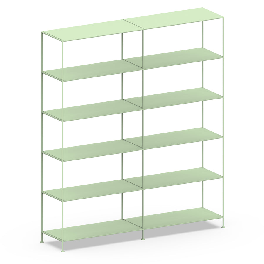 Stille Furniture Double-wide Shelves 6-tier in Mint color