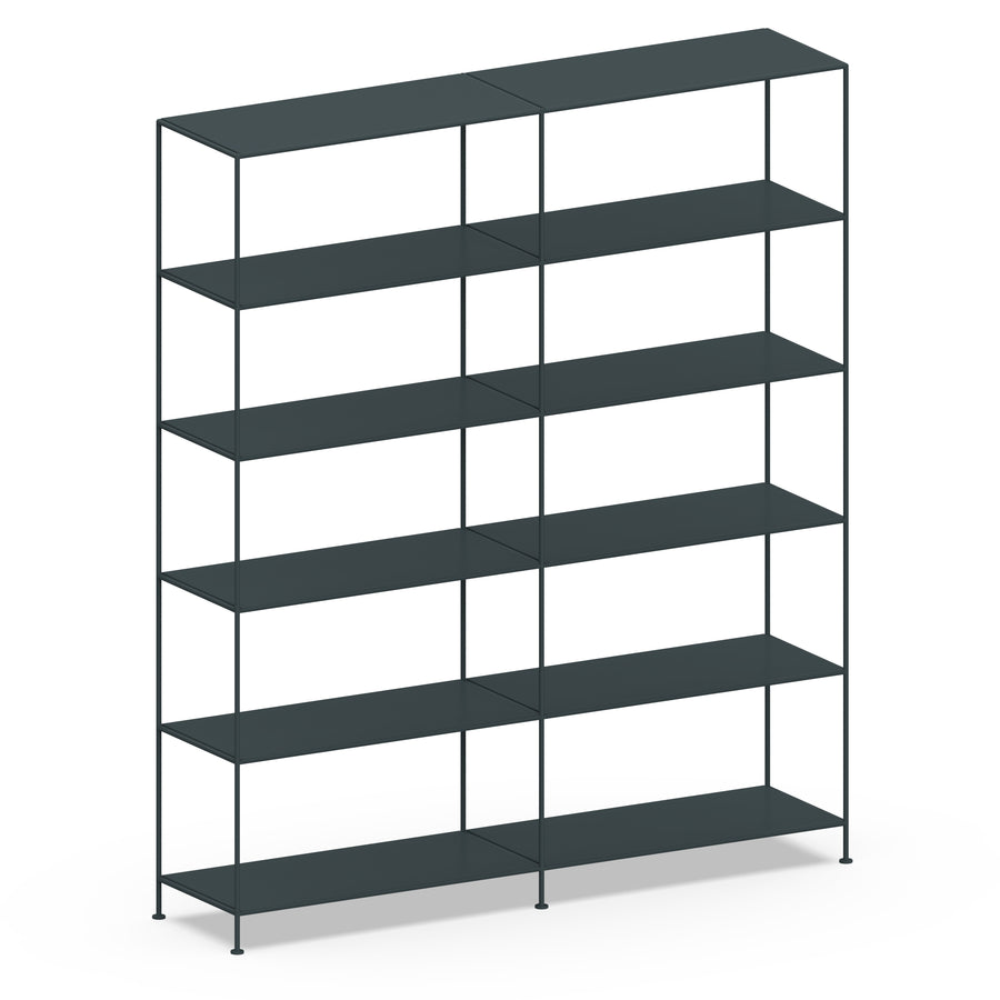 Stille Furniture Double-wide Shelves 6-tier in Slate color