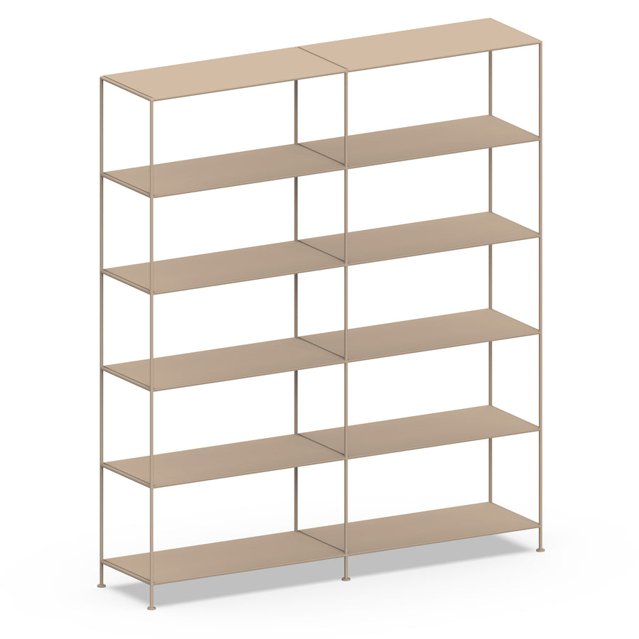 Stille Furniture Double-wide Shelves 6-tier in Taupe color