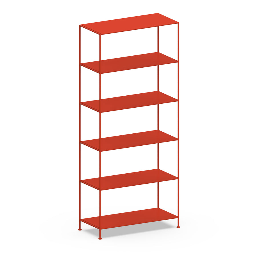 Stille Furniture Wide Shelves 6-tier in Tomato color