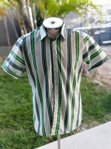 Bottle Green and Navy Stripe - L