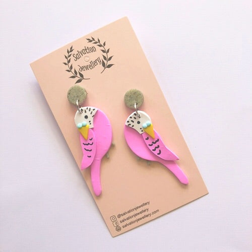 Budgie Pink Earrings - Kläder and Hem