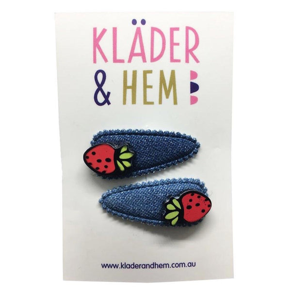 Denim Strawberry Fields Hair Clip - Kläder and Hem