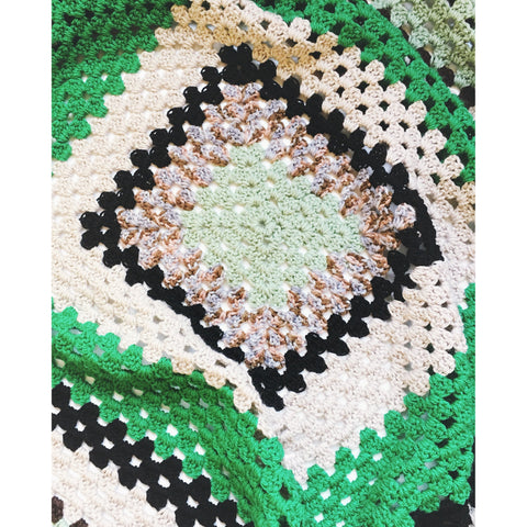 Eucalyptus Green & Cream Crochet Blanket