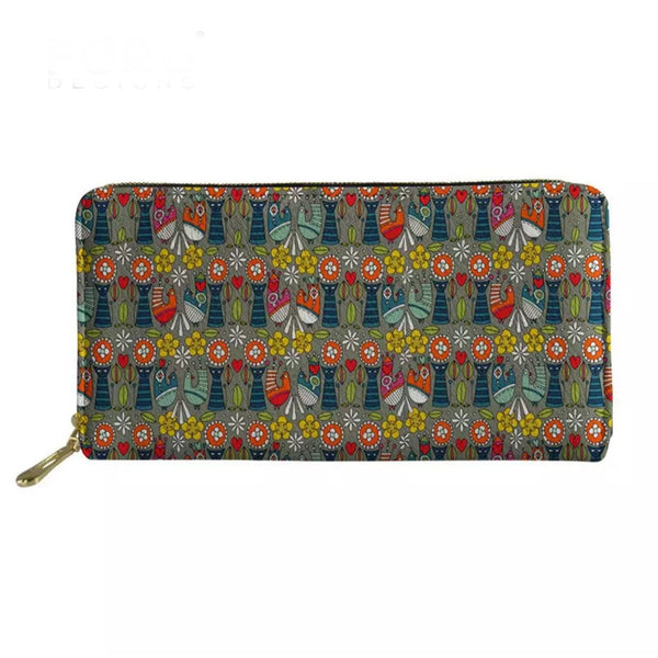 Scandinavian Flowers & Birds Zip Around Purse - Kläder and Hem