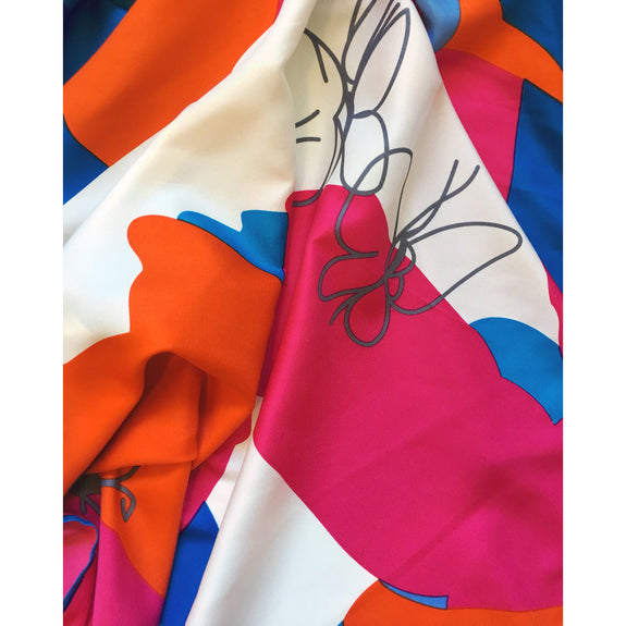 Colour Pop Pink Orange & Blue Scandi Scarf - Kläder and Hem