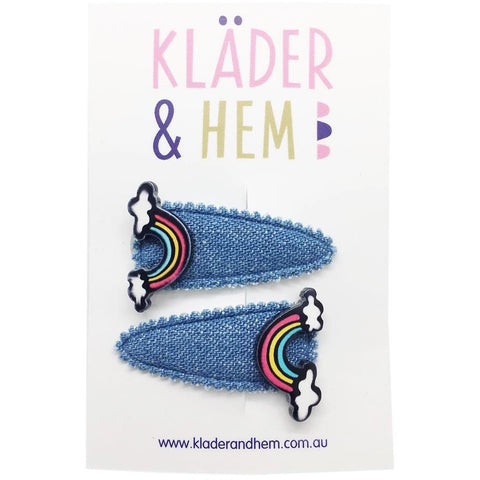 Denim Rainbow Bright Hair Clip