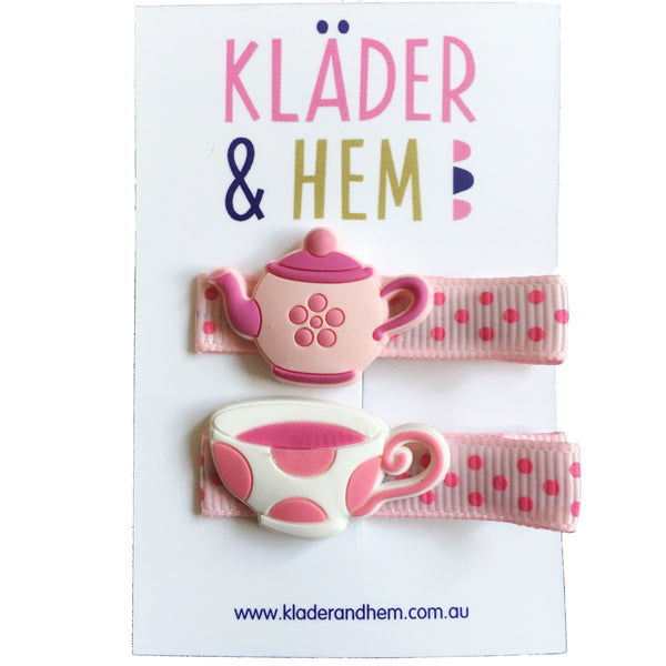 Tea Party Pink Hair Clips - Kläder and Hem