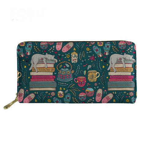 Hygge Cat Lover Zip Around Purse